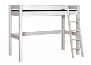 Children´s High Bed LAHE with slant ladder, white