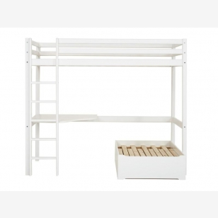Highbed BASIC 90x200 with corner-tabletop and pull-out bed white
