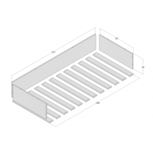 Side rail and bed base 70x160 JERWEN