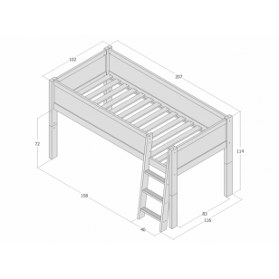 Mid-high bed 90x200 JERWEN