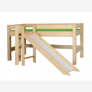 Halfhigh bed with slide and platform LAHE, natural