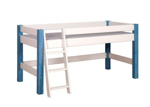 Semi High Children´s Bed LAHE, white-blue