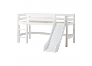 PREMIUM half high bed 70x160cm with slide - white