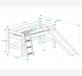 Halfhigh bed with slanted ladder and slide LAHE, white