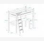 Highbed LAHE 90x200, slant ladder and corner-tabletop