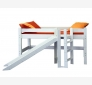 Halfhigh bed with slide and platform LAHE, white